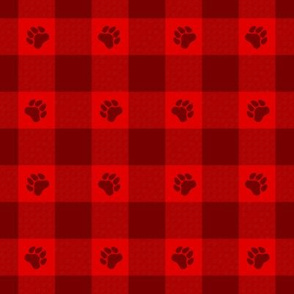 Puppy Plaid - Paw Prints on Buffalo Plaid