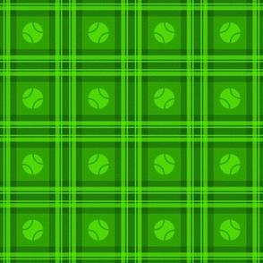 Puppy Plaid - Tennis Balls on Tartan Plaid