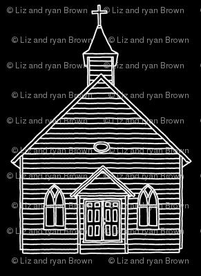 Little Church on Black // Small