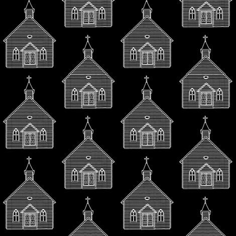 Little Church on Black // Small fabric by thinlinetextiles on Spoonflower - custom fabric