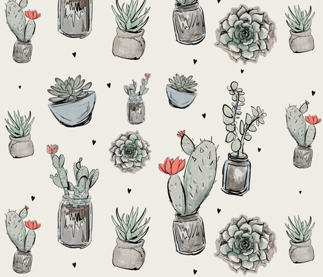 Succulent love fabric by tiffanyagam on Spoonflower - custom fabric
