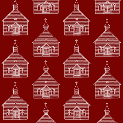 Little Church on Burgundy // Small fabric by thinlinetextiles on Spoonflower - custom fabric
