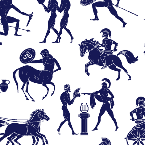 Greek Figures in Blue // Large fabric by thinlinetextiles on Spoonflower - custom fabric