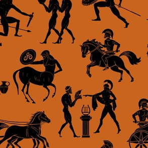 Greek Figures on Dark Orange // Large