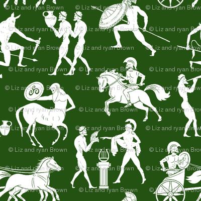 Greek Figures on Green // Large