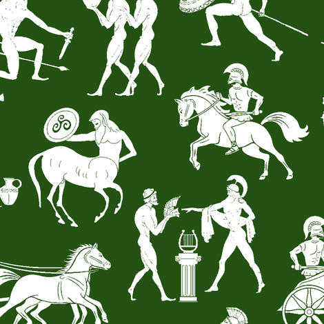 Greek Figures on Green // Large fabric by thinlinetextiles on Spoonflower - custom fabric