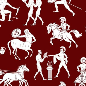 Greek Figures on Maroon // Large