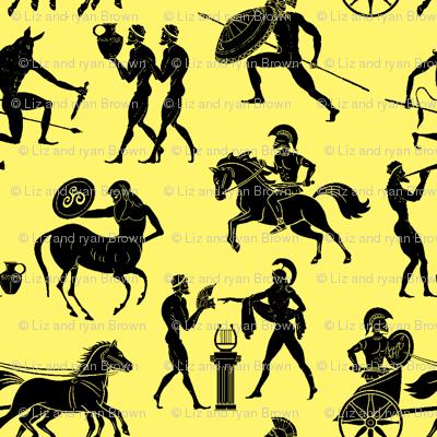 Greek Figures on Yellow // Large