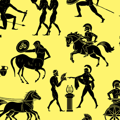 Greek Figures on Yellow // Large fabric by thinlinetextiles on Spoonflower - custom fabric