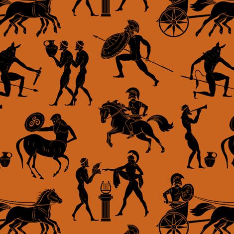 Greek Figures on Dark Orange // Small fabric by thinlinetextiles on Spoonflower - custom fabric