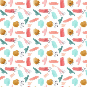 Abstract Girls Coral Mint Gold  || Smaller