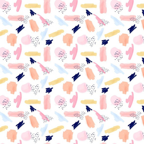Abstract Art Pattern Pink Navy || Smaller