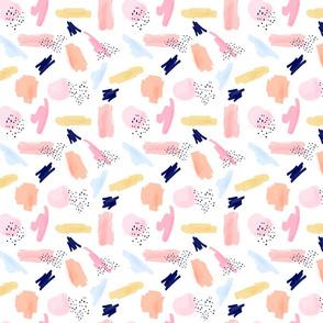 Abstract Art Pattern Pink Navy || Smaller