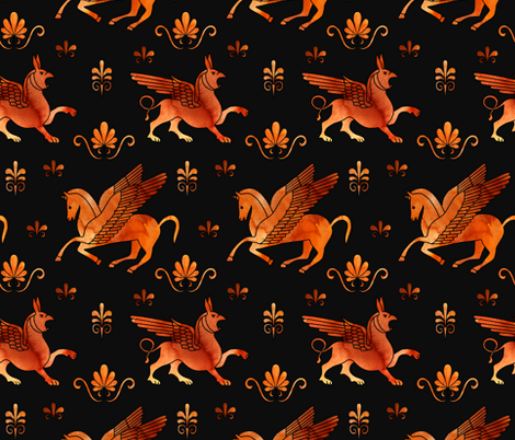 red figure pegasus and gryphons fabric by marta_strausa on Spoonflower - custom fabric