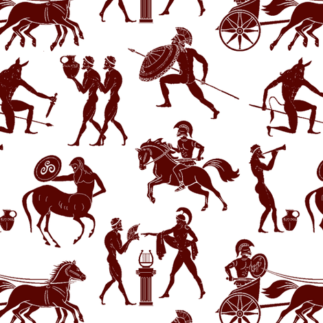 Greek Figures in Red // Small fabric by thinlinetextiles on Spoonflower - custom fabric
