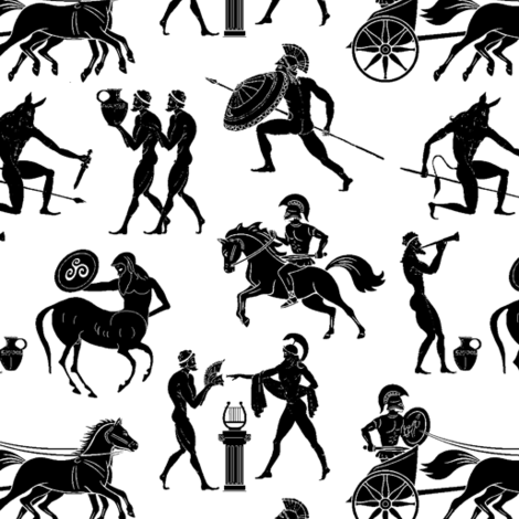 Greek Figures // Small fabric by thinlinetextiles on Spoonflower - custom fabric