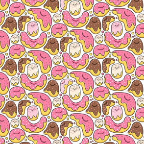 Cartoon liquid funny donuts pattern. Sweet pastry design. White.