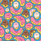 Cartoon liquid funny donuts pattern. Sweet pastry design. Blue.