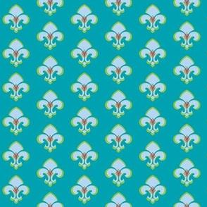 Fleur de Lis SMALL 133 - Aqua