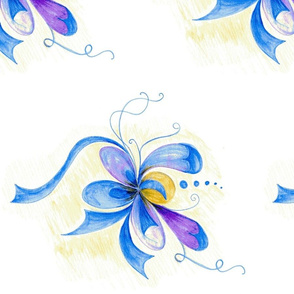 Whimsy Floral on White Background