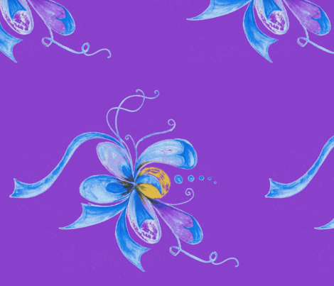 Whimsy Floral with Purple Background fabric by betz on Spoonflower - custom fabric