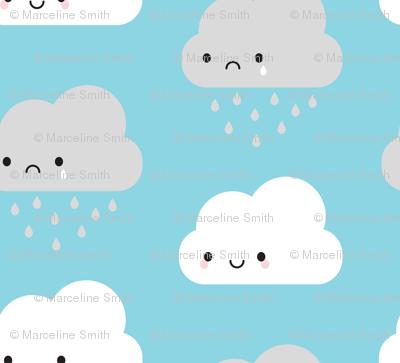 Happy and Sad Kawaii Clouds