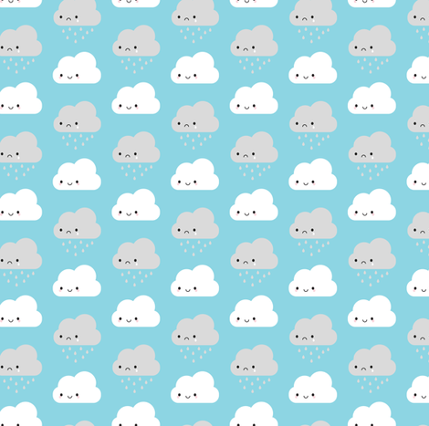 Happy and Sad Kawaii Clouds fabric by marcelinesmith on Spoonflower - custom fabric