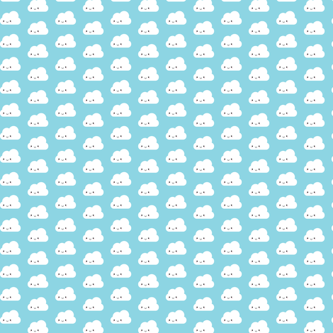 Happy Kawaii Clouds fabric by marcelinesmith on Spoonflower - custom fabric