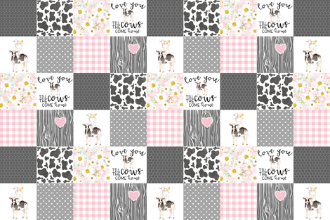 Farm // Love you till the cows come home - wholecloth cheater quilt - Pink fabric by longdogcustomdesigns on Spoonflower - custom fabric