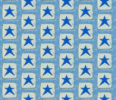 Blue Stars Medium Blue Background fabric by betz on Spoonflower - custom fabric