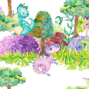 LARGE SCALE CUTE DINOS FAMILY ON WHITE FOREST PARTY