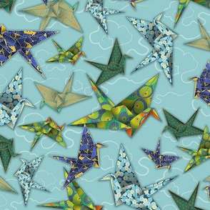 5 Washi Origami Cranes - Sky