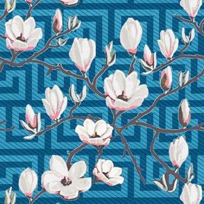 Magnolia Blue floral // Greek Key Floral // Magnolia