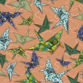 5 Washi Origami Cranes