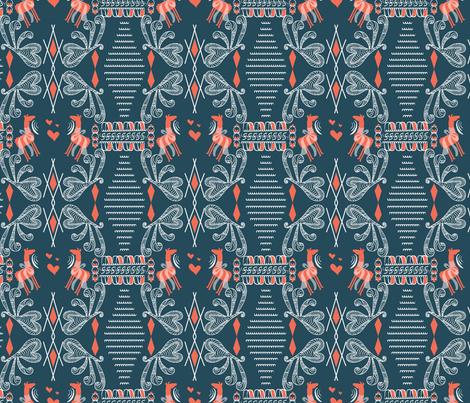 Greek art Llamas, dark blue, peach, llama fabric, grecian, greek art fabric by applebutterpattycake on Spoonflower - custom fabric