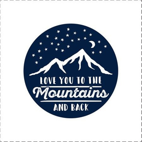 "9"" quilt block (navy) - Love you to the mountains and back - with cut lines"