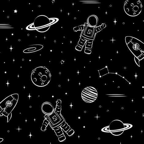 monochrome - space print (black) fabric by littlearrowdesign on Spoonflower - custom fabric