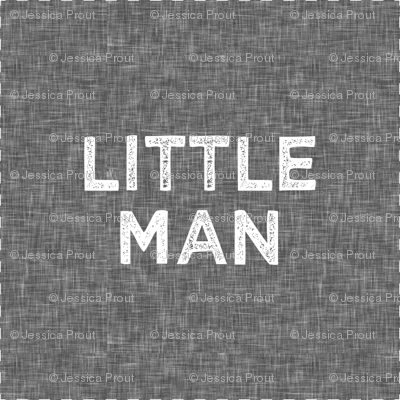 """9"""" Quilt Block - Little Man on grey with cut lines"""