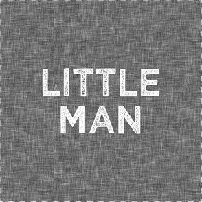 "9"" Quilt Block - Little Man on grey with cut lines"