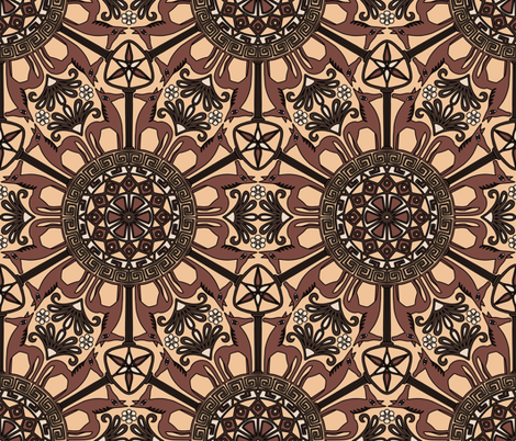 Inspired by Greek Art - Horse Mandala fabric by martaharvey on Spoonflower - custom fabric