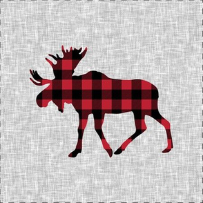 "9"" quilt block - Moose - buffalo plaid  w/ cut lines"