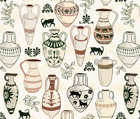 Amphorae - Neutral fabric by fernlesliestudio on Spoonflower - custom fabric