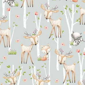 Sweet Woodland Animals (frost gray) Deer Fox Raccoon Birch Trees Flowers Baby Girl Nursery Blanket Sheets Bedding B