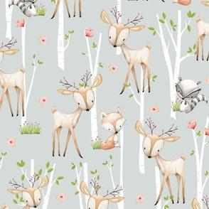 Sweet Woodland Animals (frost gray) Deer Fox Raccoon Birch Trees Flowers Baby Girl Nursery Blanket Sheets Bedding B