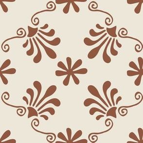Greek Tile - Sienna On Beige
