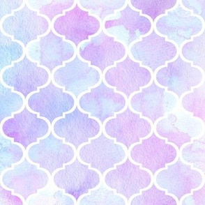 Watercolor Moroccan Tile // Lavender and Blue