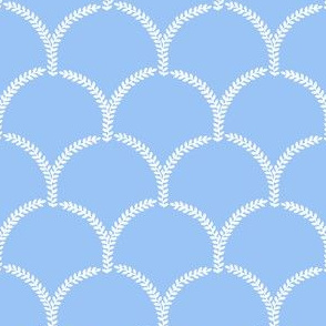 Hortense Scallop ~ White on Jasper Blue