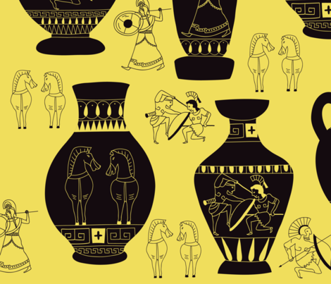 Greek Vase art fabric by yanludian on Spoonflower - custom fabric