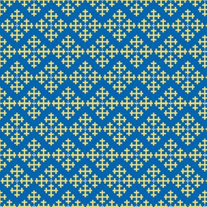 Greek Crosses in White and Gold on Blue Waves