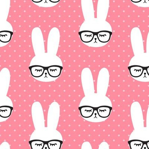bunny with glasses - pink polka